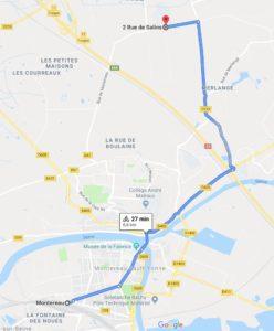 Trajet en vélo de Montereau à Forges