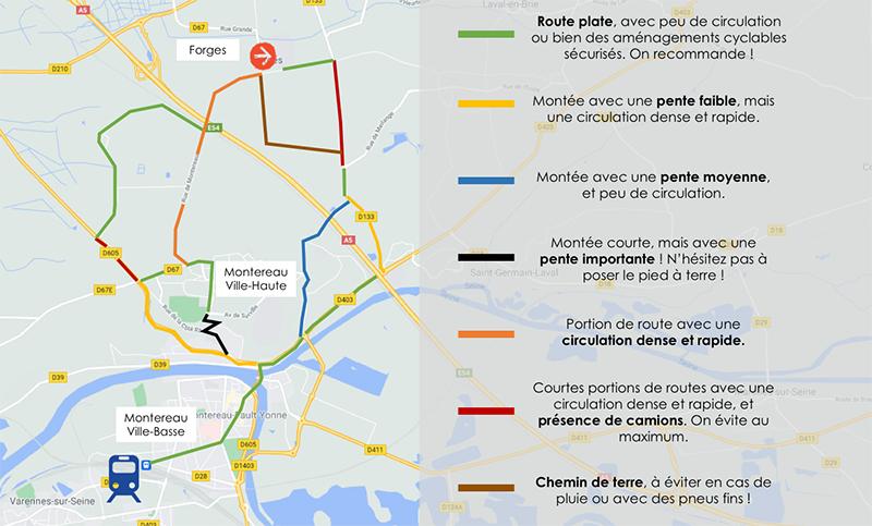 Itinéraires vélos Campus de la Transition